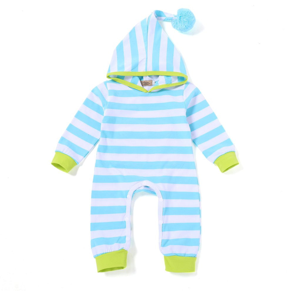 Long Sleeves Newborn Unisex Hooded Baby Boy Girl Romper Fashion Striped Playsuit Soft Cotton Jumpsuit with Button Closure