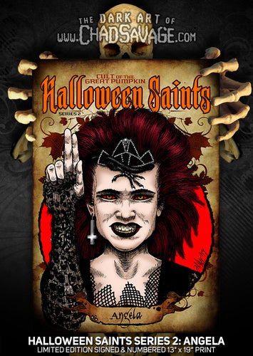 Halloween Saints Series 2: Angela Art Print (Color and Black & White)