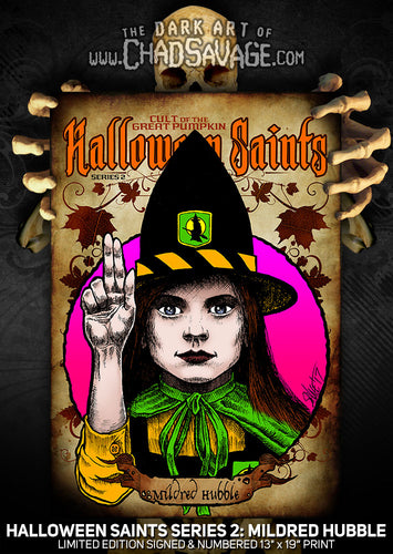 Halloween Saints Series 2: Mildred Hubble Art Print (Color and Black & White)
