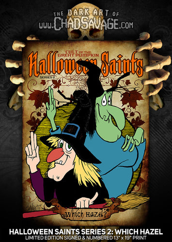 Halloween Saints Series 2: Which Hazel? Art Print (Color or Black & White)