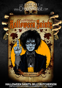 Halloween Saints: Billy Butcherson Art Print (Color and Black & White)