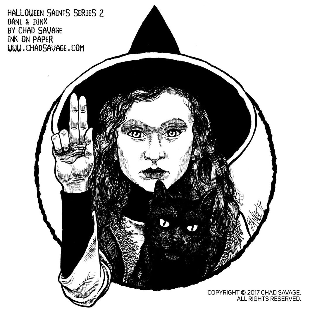 Halloween Saints Series 2: Dani & Binx Original Ink Art