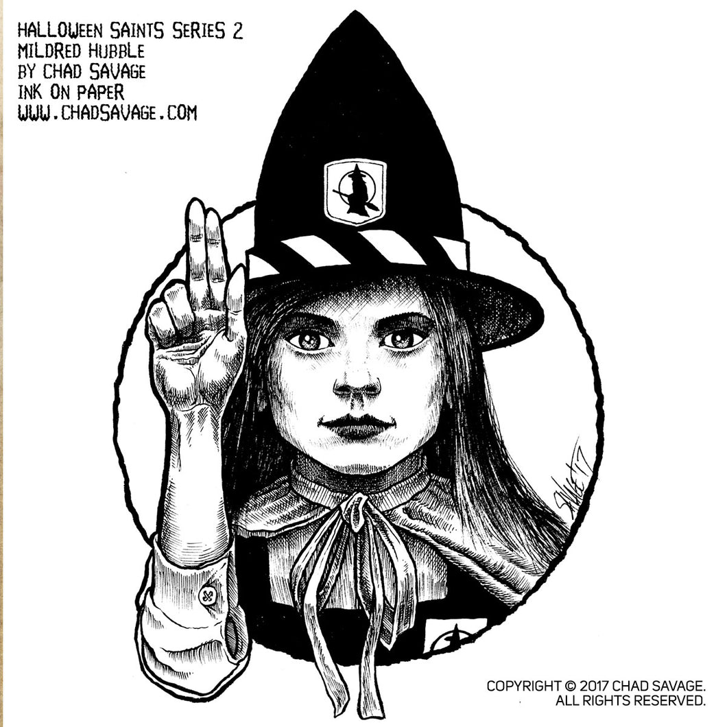 Halloween Saints Series 2: Mildred Hubble Original Ink Art