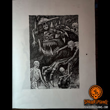"""Deep Into That Darkness Peering"" Illustration 1 Original Drawing"