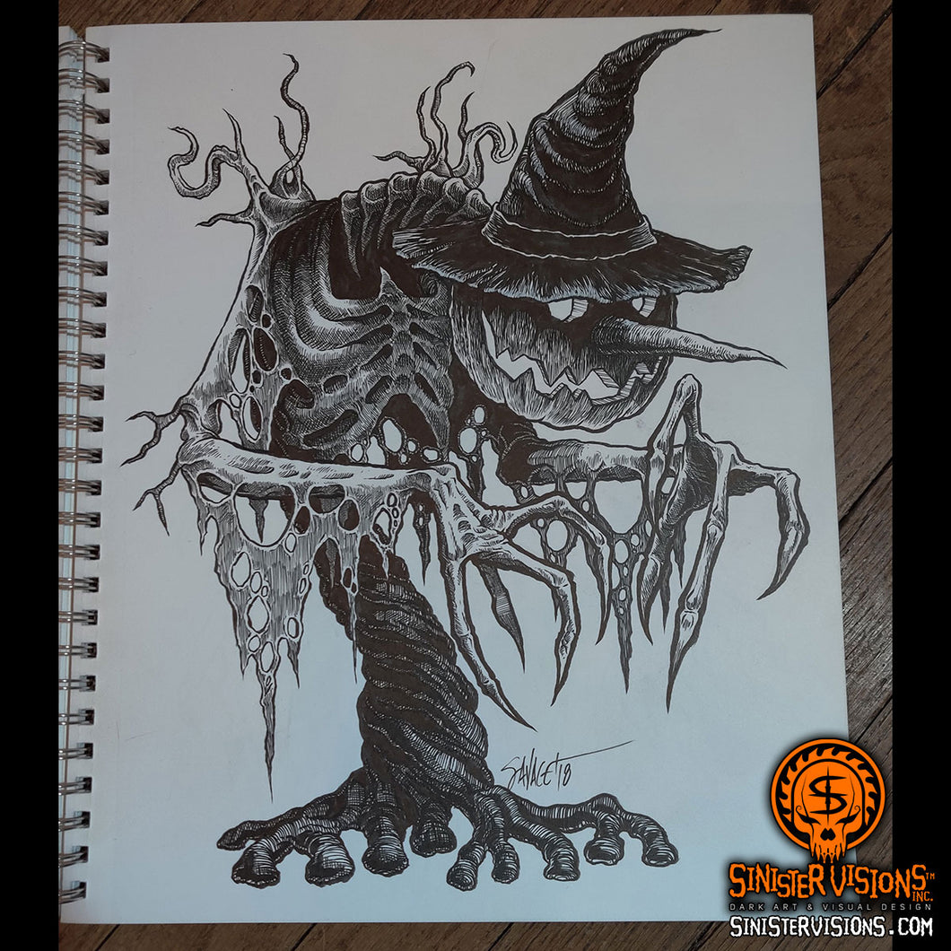 Scary Scarecrow 1 Original Ink Drawing
