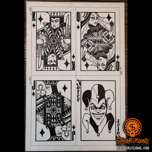 Vampire Face Cards Original Drawing