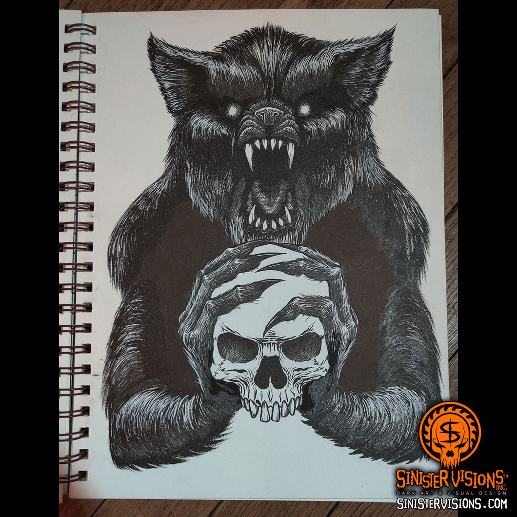 Werewolf with Skull Original Ink Drawing