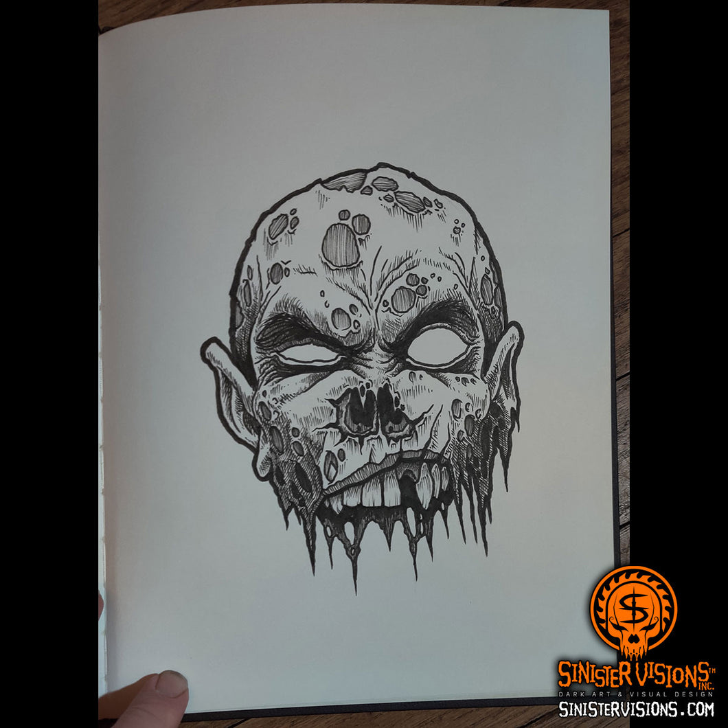 Jawless Zombie Original Ink Drawing