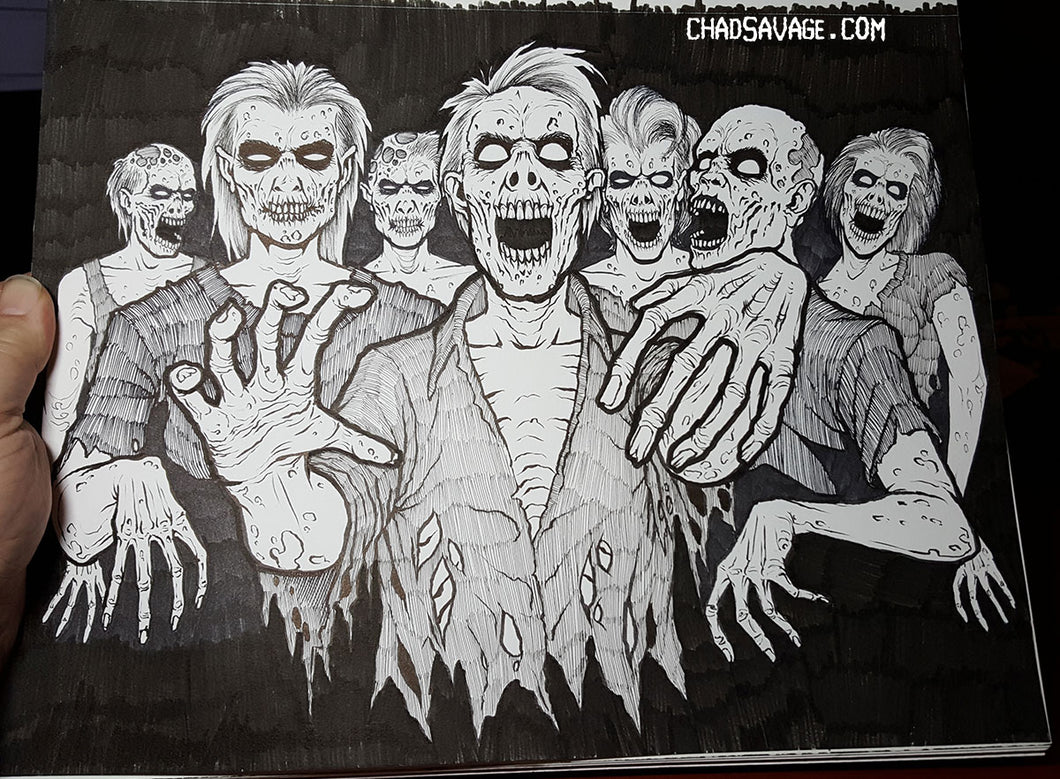 The MHC Zombie Horde Original Drawing