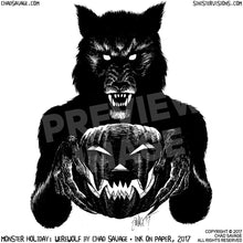 Monster Holiday: Werewolf Original Halloween Ink Drawing