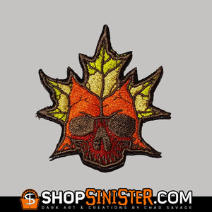 Autumn Skull Embroidered Patch