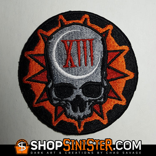 Sinister Skull: Lucky 13 Embroidered Patch