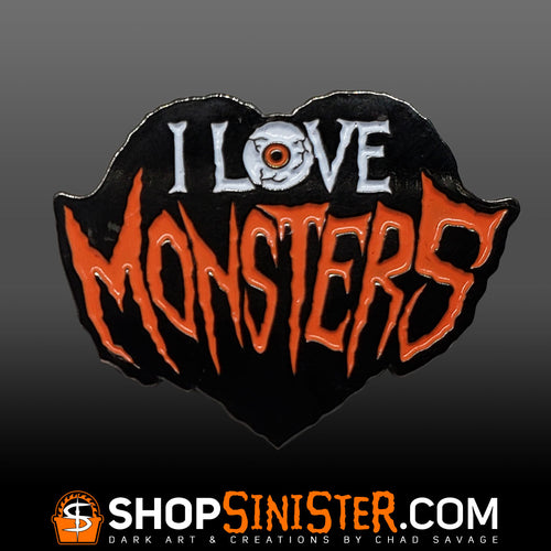 I Love Monsters Enamel Lapel Pin
