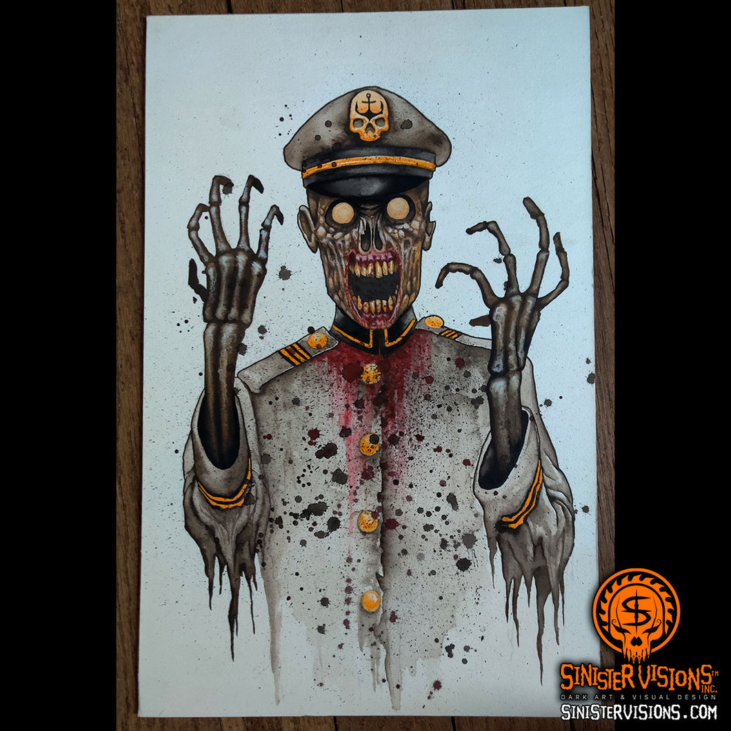Captain Zombie Original Painting