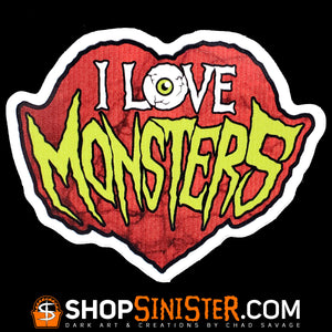 I Love Monsters Die Cut Vinyl Sticker