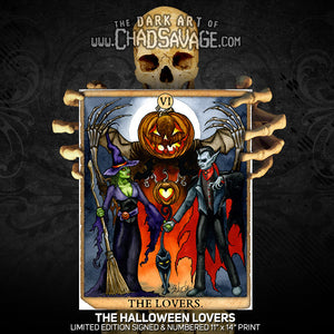 The Halloween Lovers Tarot Card Art Print