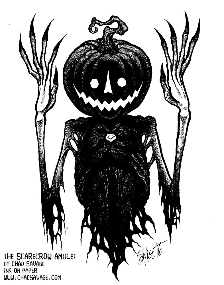 The Scarecrow Amulet Original Halloween Drawing