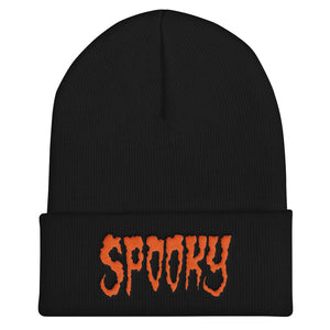 Spooky (Orange) Embroidered Cuffed Beanie