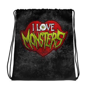 I Love Monster Drawstring bag