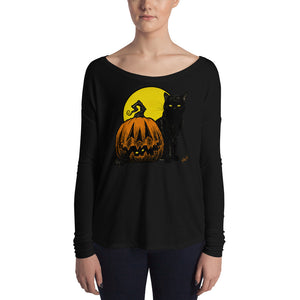 Still Life with Feline and Gourd Ladies' Long Sleeve Tee