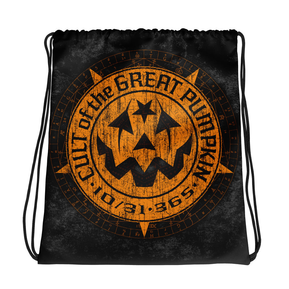 Cult of the Great Pumpkin Weathered Logo Drawstring bag