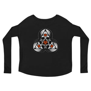 SINISTER SKULLS - Biohazard TriSkull Ladies' Long Sleeve Tee