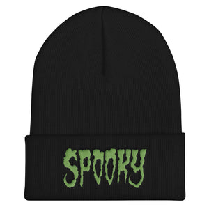 Spooky (Green) Embroidered Cuffed Beanie