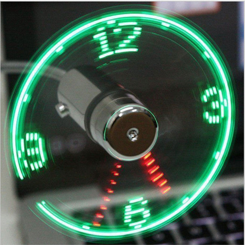 Gooseneck LED Mini Fan Clock - USB Flexible Portable Adjustable with Real-Time Display for Laptop PC Notebook