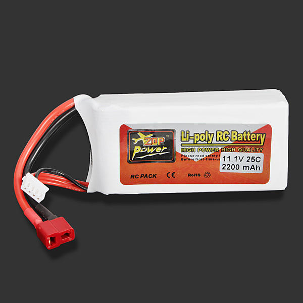 ZOP Power 3S 11.1V 2200mAh 25C Lipo Rechargeable Battery T Plug for RC Racing Drone Quadcopter Helicopter Airplane - Red Hot Exclusive