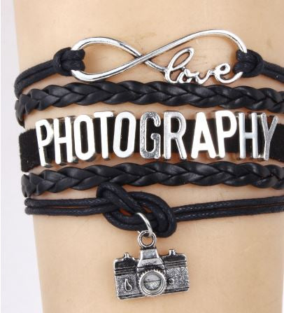 Embracelets Infinity Love Photography Charm bracelet Pandora Leather Bracelet Jewelry