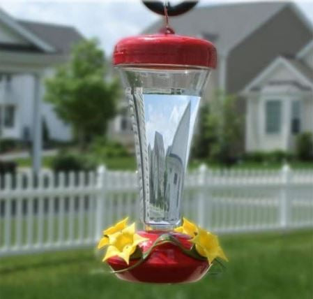 Aster Top Fill Push-Pull 12-ounce Plastic Hummingbird Feeder - Red Hot Exclusive