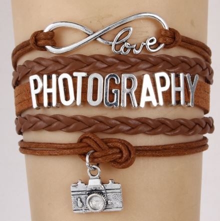 Infinity Love Photography Braided Charm Bracelet Pandora Leather Jewelry for Men and Women - Red Hot Exclusive