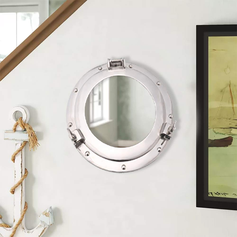 Porthole Glass Aluminum Nautical Coastal Wall Decor Ideas for Living Rooms or Gifts - Red Hot Exclusive