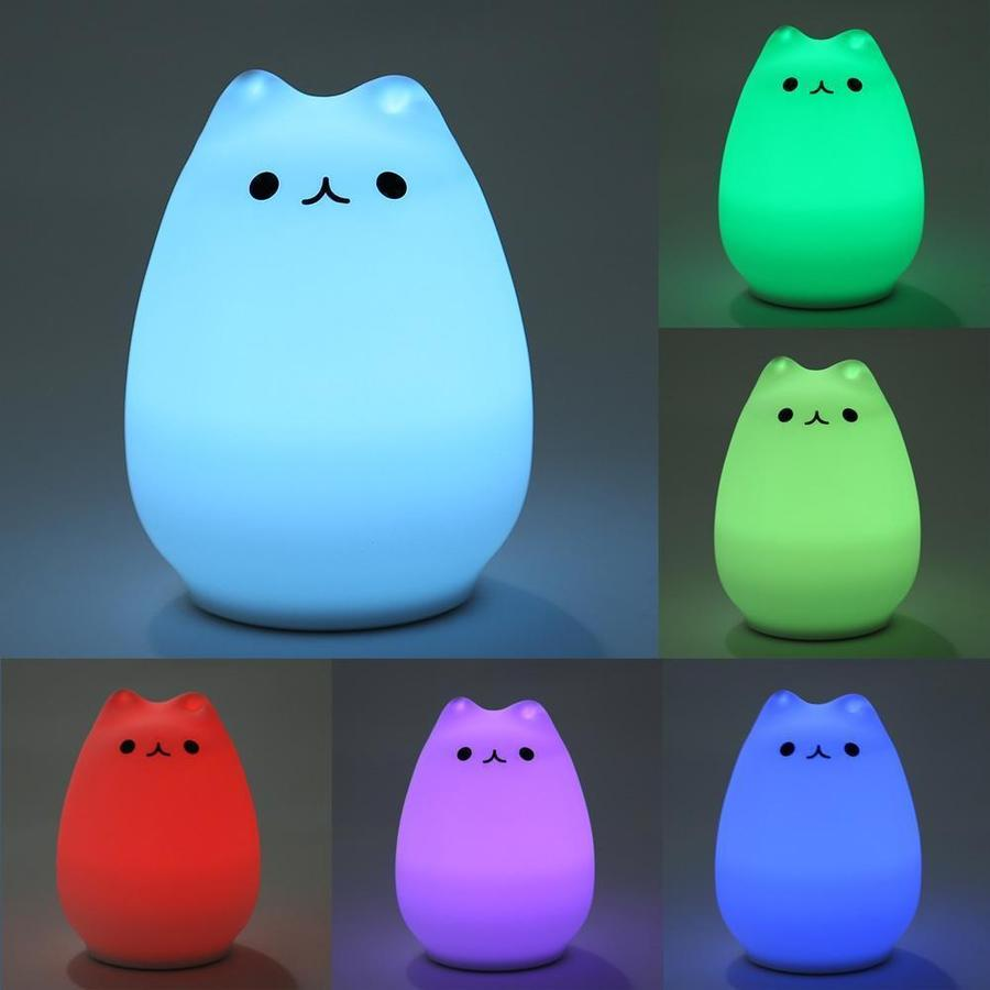 Squishy Kitty USB Rechargeable Night Lamp Touch Sensitive - 7-Color Breathing Mode - Red Hot Exclusive