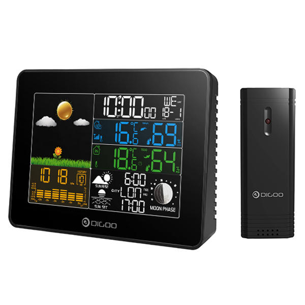 Digoo Wireless Full-Color Screen Digital USB Outdoor Barometric Pressure Weather Station Hygrometer Thermometer Forecast Sensor Clock