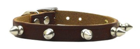 CanineCare Leather Spiked Dog Collar for Shock and Protection - Red Hot Exclusive