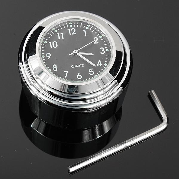 7/8 Universal Chrome Motorcycle Waterproof Handlebar Mount Clock - Red Hot Exclusive