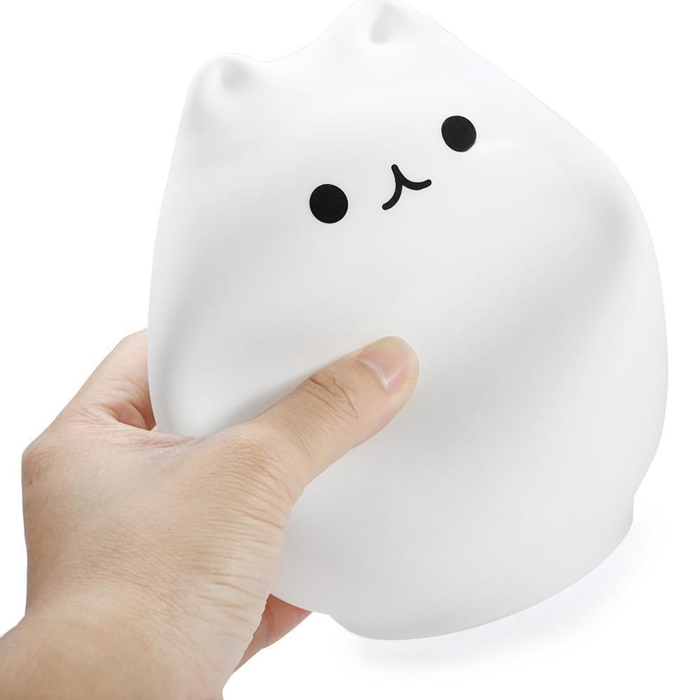 Squishy Kitty USB Rechargeable Night Lamp Touch Sensitive - 7-Color Breathing Mode
