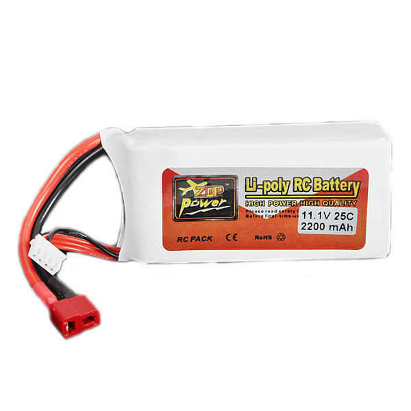 ZOP Power 3S 11.1V 2200mAh 25C Lipo Rechargeable Battery T Plug for RC Racing Drone Quadcopter Helicopter Airplane