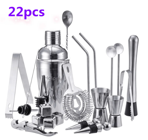 Haipei Stainless Steel Bartender Cocktail Shaker Set Boston Shaker Martini Mixer - Red Hot Exclusive