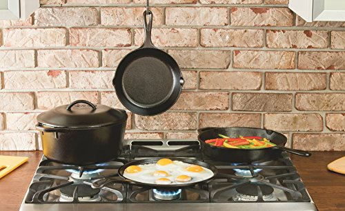 Lodge 10-inch Cast Iron Skillet Dutch Oven Pre-Seasoned 5-Quart - Red Hot Exclusive