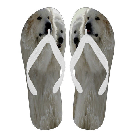 Great Pyrenees Print Flip Flops For Women-Free Shipping
