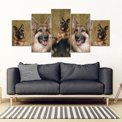 German Shepherd Print-5 Piece Framed Canvas- Free Shipping