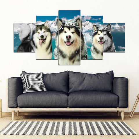 Alaskan Malamute Print- Piece Framed Canvas- Free Shipping