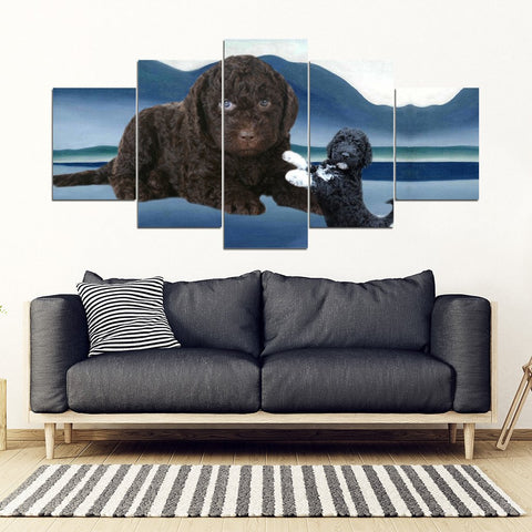 Barbet Dog2 Print-5 Piece Framed Canvas- Free Shipping