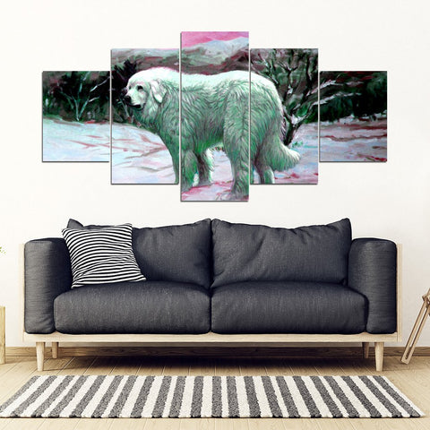 Great Pyrenees Art Print 5 Piece Framed Canvas- Free Shipping