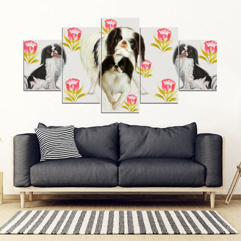 Japanese Chin Floral Print-5 Piece Framed Canvas- Free Shipping