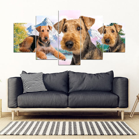 Airedale Terrier Print- Piece Framed Canvas- Free Shipping