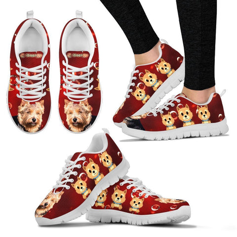 Norwich Terrier On Red-Women's Running Shoes-Free Shipping