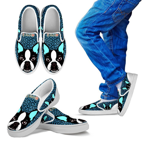 Amazing Boston Terrier Print-Kid's Slip Ons-Free Shipping